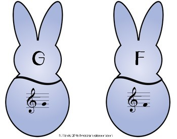 Treble Clef Bunny Matching Game for Spring Music Centers