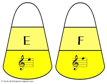 Treble Clef Candy Corn Matching Game for Fall Music Centers