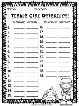 Treble Clef Detective:  Notes