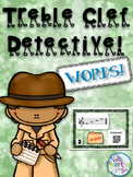 Treble Clef Note Naming Practice Words - Detective Music Activity