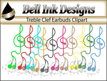 Treble Clef Earbuds Clipart