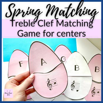 Treble Clef Easter Egg Matching Game for Spring Music Centers