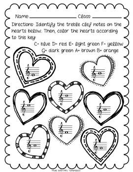 Treble Clef Hearts Coloring Sheet