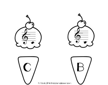 Treble Clef Ice Cream Matching Game for End of the Year or Summer Music Centers