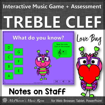 Treble Clef Interactive Music Game and Assessment {Love Bug}