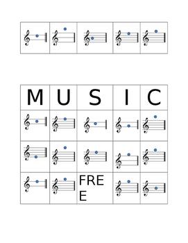 Treble Clef Line Note Bingo