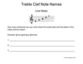 Treble Clef Line Sentences