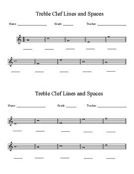 Treble Clef Lines & Spaces Assessment