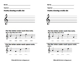 Treble Clef Lines and Spaces Exit Slips