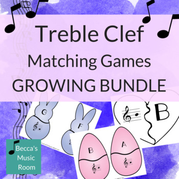 Treble Clef Matching Games for Music Centers GROWING BUNDLE