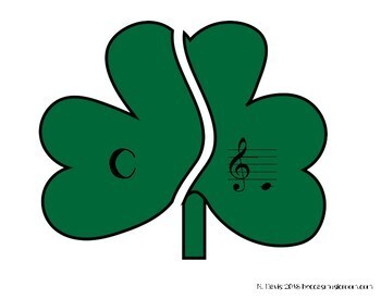 Treble Clef Shamrocks Matching Game for Music Centers
