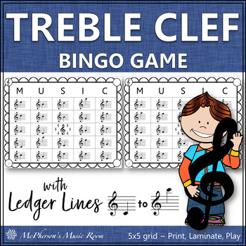 Treble Clef Music Bingo Game with ledger lines