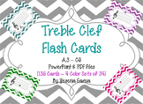 Treble Clef Music Flash Cards - Powerpoint & PDF