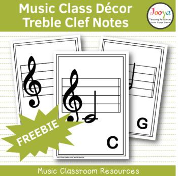 Treble Clef Music Note Cards FREEBIE