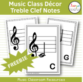 Music Class Decor - Treble Clef Music Note Cards