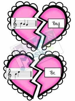 Treble Clef Music Note Spelling- Valentine's Day
