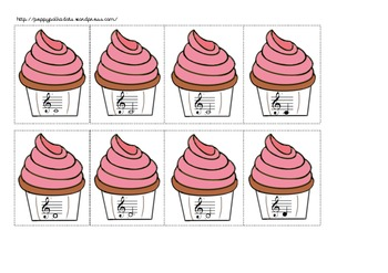 Treble Clef Note Matching Cupcakes Game