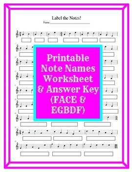 Treble Clef Note Name Printable Worksheet (FACE & EGBDF) by Jenny\'s ...