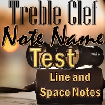 Treble Clef Note Name Test - Line and Space Notes - Elementary Music PDF