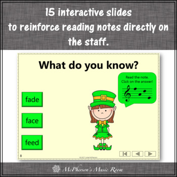 Treble Clef Note Name Words Interactive Music Game {Dancing Leprechaun}