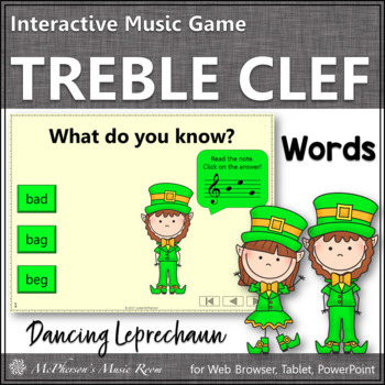 Treble Clef Note Name Words Interactive Music Game {Dancin