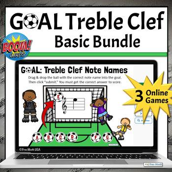Treble Clef Note Names BUNDLE, Music Boom Task Cards Online Game