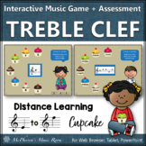 Treble Clef Note Names Interactive Music Game + Assessment {cupcakes}