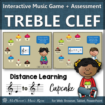 Treble Clef Note Names Interactive Music Game + Assessment