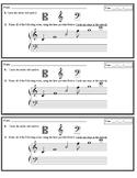 Treble Clef Note Names (Ledger Lines Included) - Assessment Slips