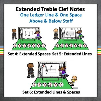 Treble Clef Note Names, Music Online Boom Task Cards BUNDLE (COMPLETE), 6 Sets