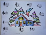 Music: Treble Clef Notes Musical Winter House Color Sheet