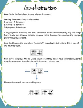 Treble Clef Note-Naming Dominoes Game!