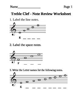 Treble Clef Note Names Worksheet | Teachers Pay Teachers
