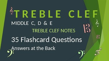 Treble Clef Note Reading Drills - Middle C, D & E - answers at the back