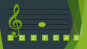 Treble Clef Note Reading Drills - Middle C to G - PPT Flashcard with Answer