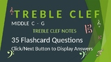 Treble Clef Note Reading Drills - Middle C to G - PPT Flas