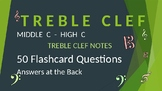 Treble Clef Note Reading Drills - Middle C to High C - Ans