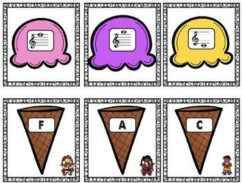 Treble Clef Notes Matching Game: Ice Cream Edition!
