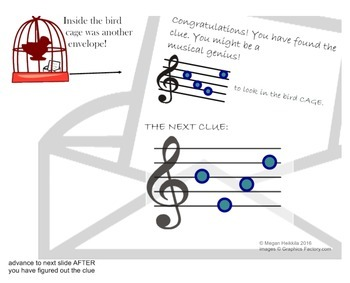"""Treble Clef Game Music Detective #1 """"Case of the Missing Manuscript"""" - PPT/SMART"""