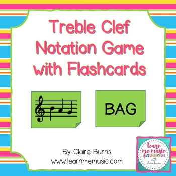 Treble Clef Pitch Practice - Spelling Words with Flashcards