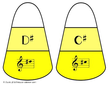Treble Clef Sharps and Flats Candy Corn Matching Game for Fall Music Centers