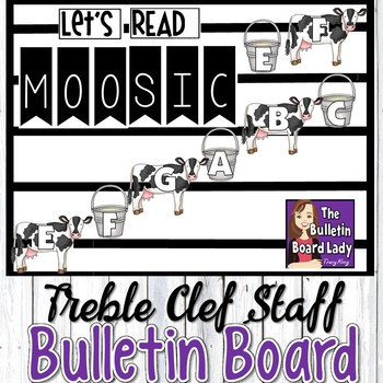 Treble Clef Staff Display Let's Read MOOSIC