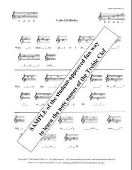 Treble Clef Staff Riddles - A Fun Way to Learn Note Names