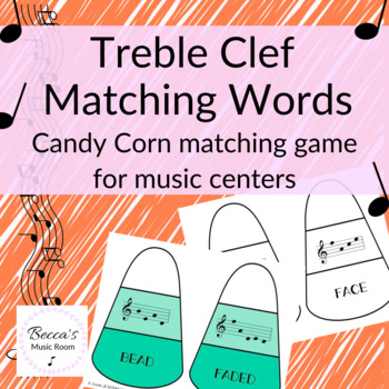 Treble Clef Words Candy Corn Matching Game for Fall Music Centers