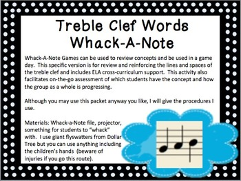 Treble Clef Words Whack-A-Note