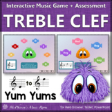 Treble Clef Note Names Interactive Music Game + Assessment {Yum Yums}
