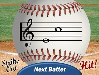 Treble Clef and Bass Clef Baseball PowerPoint Game BUNDLE for Music Class