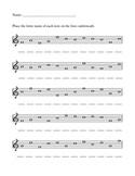 Treble Clef note names worksheet