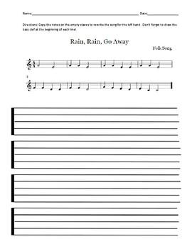 "Treble Clef to Bass Clef Transcription - ""Rain, Rain Go Away"""