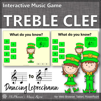Treble Clef with Ledger Lines Interactive Music Game {Dancing Leprechaun}